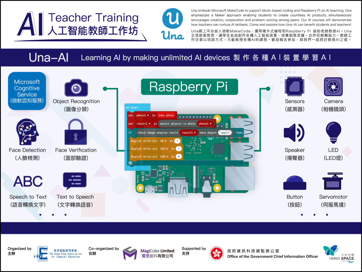 AI Education Teacher Training, co-organized by HKACE and supported by OGCIO and HKPC Innospace