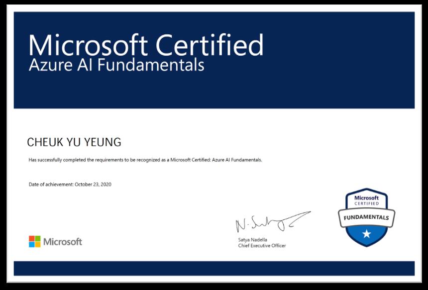 AI900 Certificate