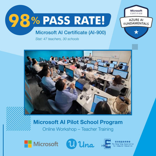 47 teachers took the Microsoft AI-900 Certificate Exam for the first time, 98% of them passed!