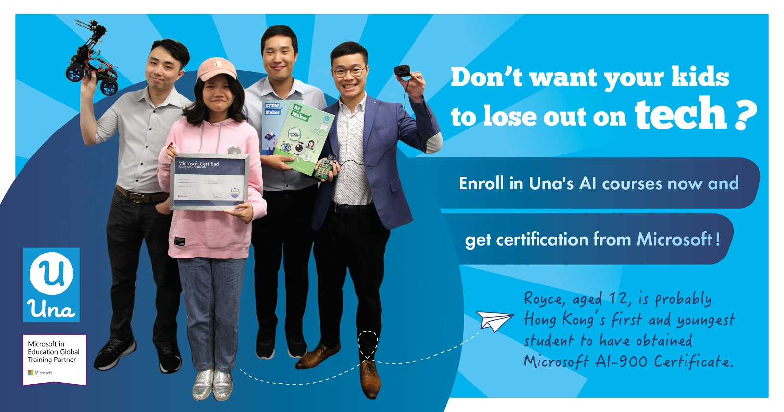 Hong Kong's first and youngest student to have obtained Microsoft AI-900 Certificate!