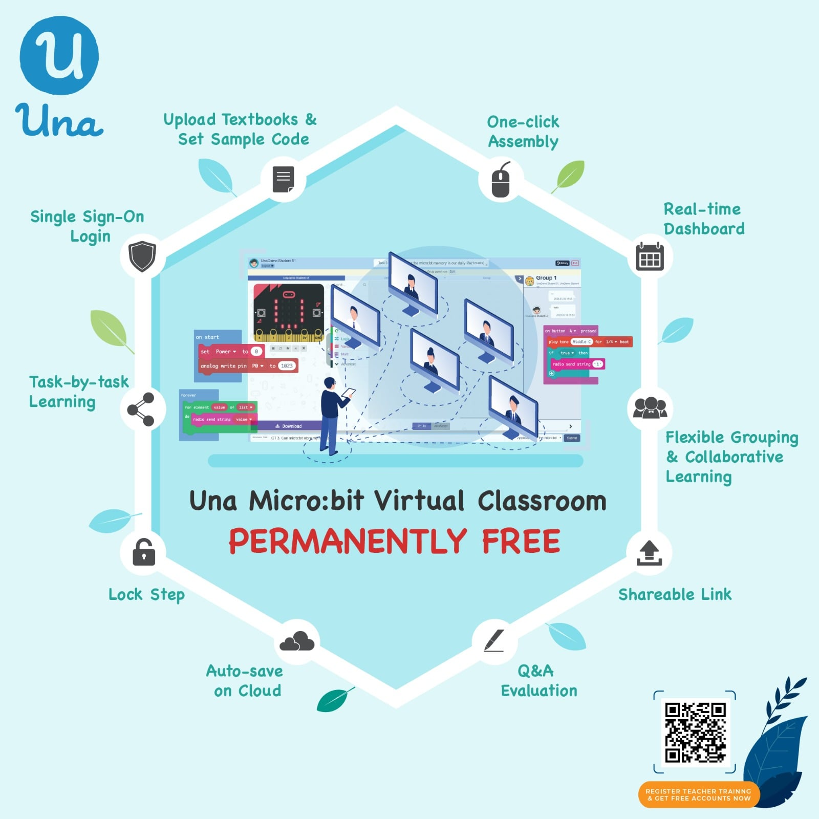 Una micro:bit virtual classroom is now permanently free for all schools | Provide free teacher training and limited time discount offer to new customers